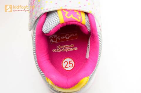 Светящиеся кроссовки для девочек Фиксики на липучках, цвет серый, мигает картинка сбоку. Изображение 14 из 15.