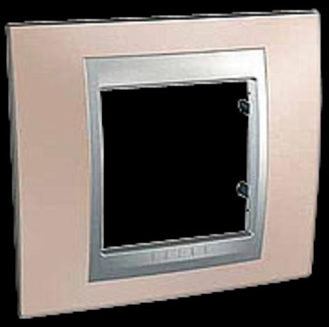 Рамка на 1 пост. Цвет Оникс-алюминий. Schneider electric Unica Top. MGU66.002.096