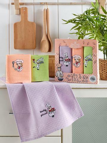 Салфетки METEOR вафельные  с вышивкой  в коробке  40х60 (3 шт.) ASCI