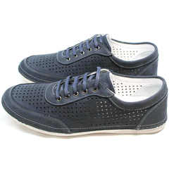 Стильные кроссовки мокасины кожа мужские Vitto Men Shoes 3560 Navy Blue.
