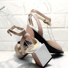 Летние женские босоножки на каблуке 7 см Brocoli B18900N-5454 Beige.