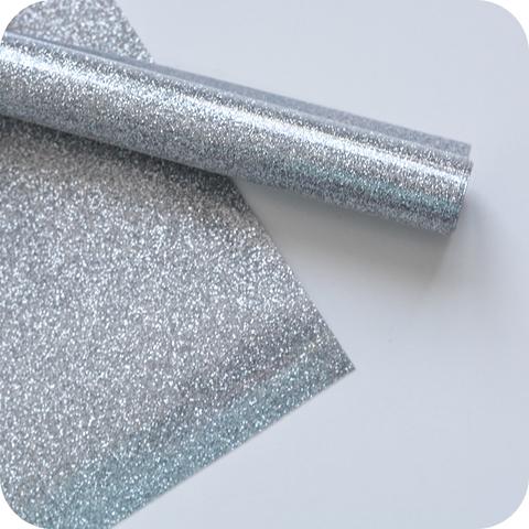 Термотрансферная пленка с глиттером, цвет серебро, размер отреза 25*25см