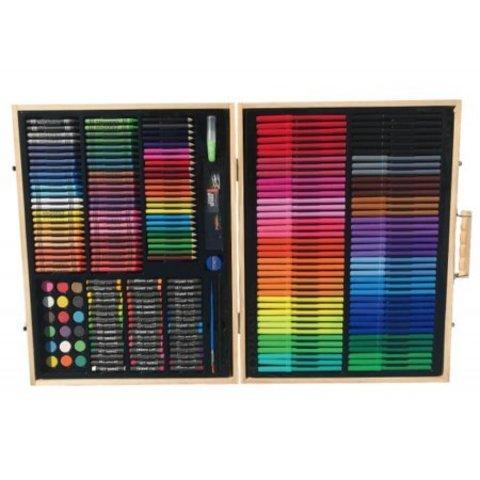 Набор для рисования 251 предмет в деревянном кейсе