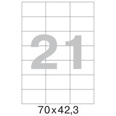 Этикетки самоклеящиеся Office Label эконом белые 70х42.3 мм (21 штука на листе А4, 100 листов в упаковке)