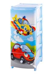 Комод детский для мальчика с рисунком №16 Самолет 4-х секционный голубой из пластика Эльфпласт 40х48х98,2 см