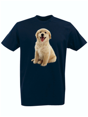 Футболка с принтом Собака (Dog) темно-синяя 007