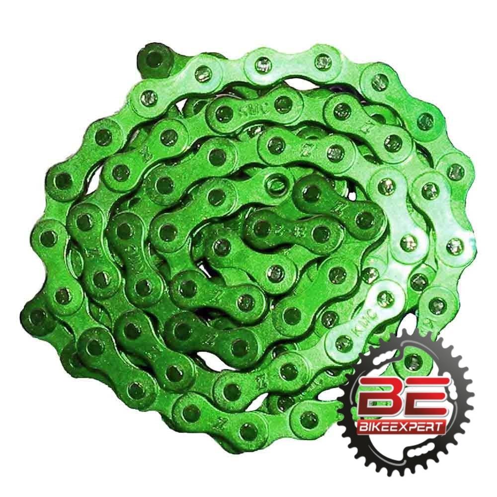 Велосипедная цепь КМС S1 ВМХ 112 звеньев зеленая