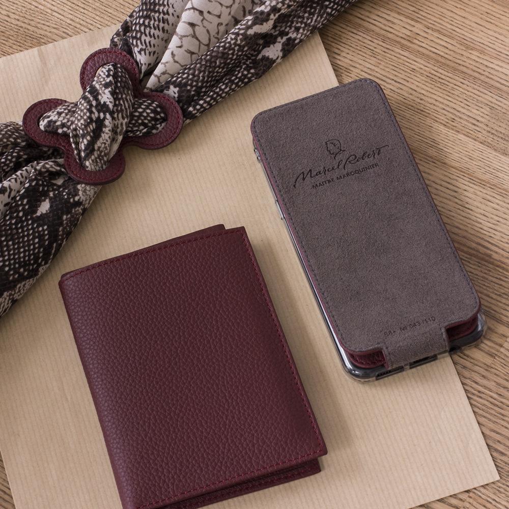Обложка на паспорт и для автодокументов Paris Easy из натуральной кожи теленка, бордового цвета