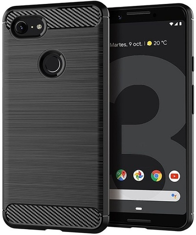 Чехол Google Pixel 3 цвет Black (черный), серия Carbon, Caseport