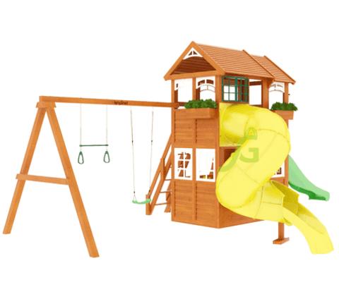 Детская площадка Клубный домик 2 с горкой трубой Luxe