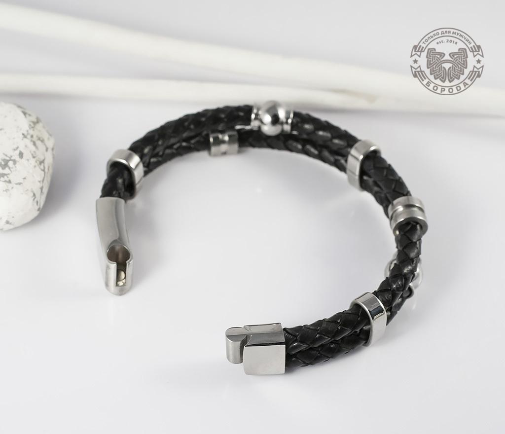 BL383 Необычный браслет из кожи и стали на магнитной застежке (21 см) фото 03