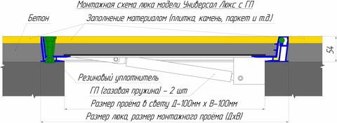Люк напольный Универсал Люкс (с амортизаторами) 900х 900