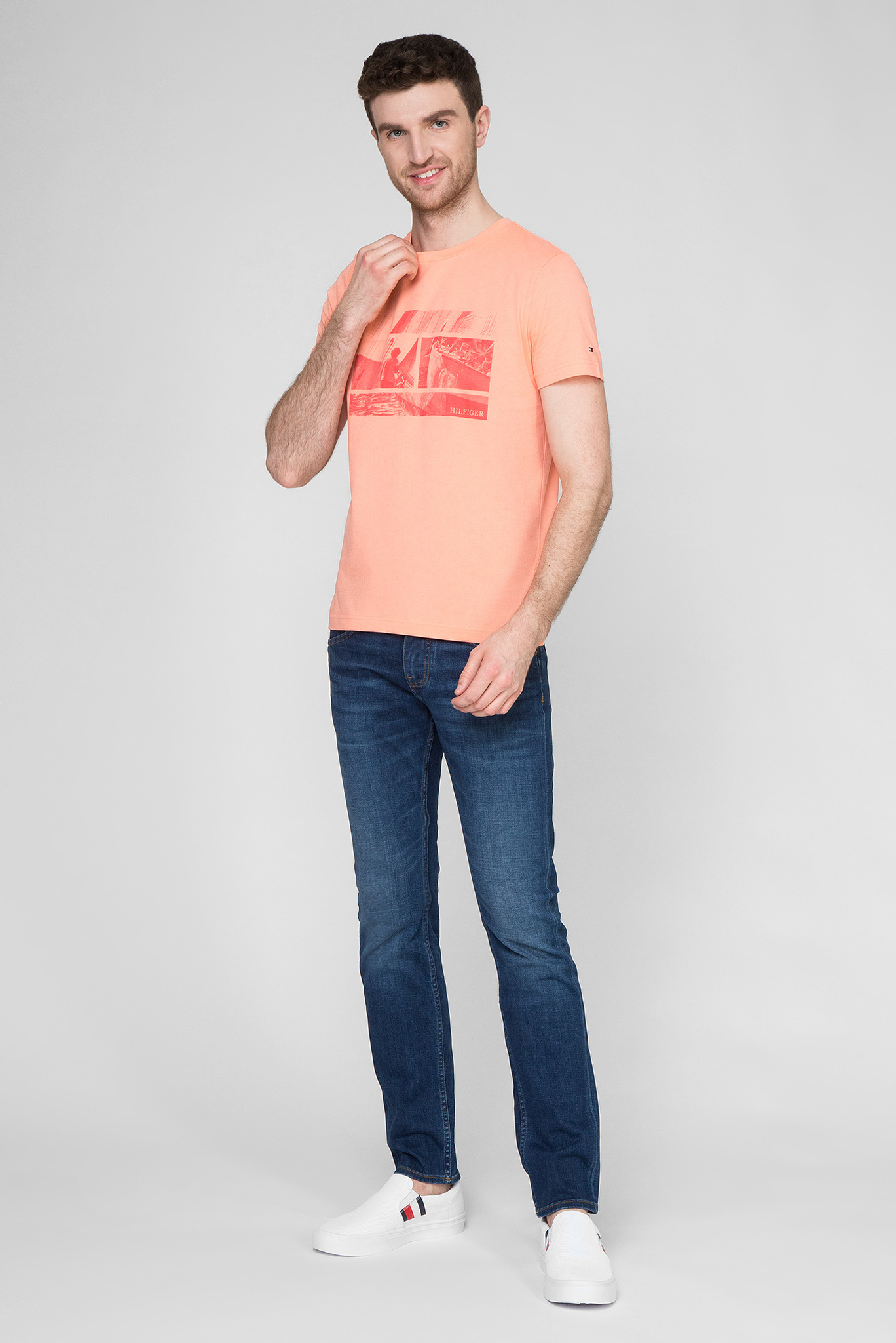 Мужская розовая футболка WCC FLAG PHOTO PRINT Tommy Hilfiger