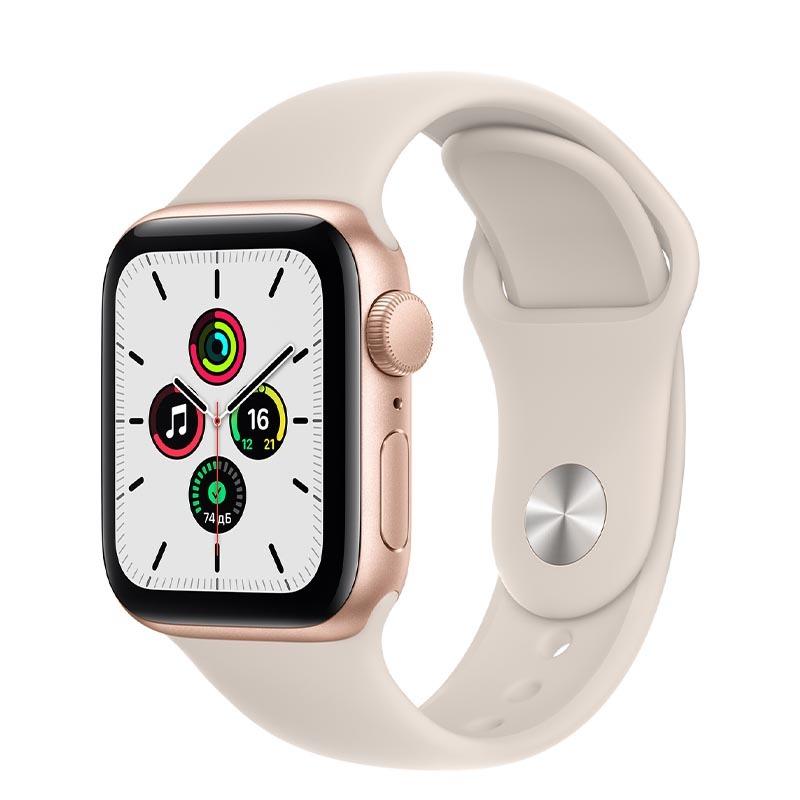 Apple Watch SE, GPS, 40 мм, алюминий золотого цвета, спортивный ремешок цвета «Сияющая звезда»
