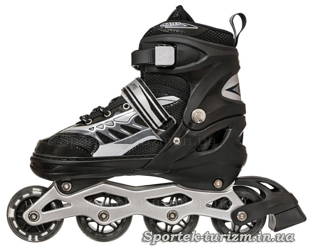 Вигляд зліва на чорні роликові ковзани InLine Skate 38-43 розміру