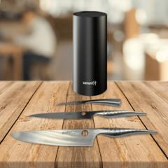 Набор из 3 кухонных стальных ножей Samura REPTILE и подставки KBF-101