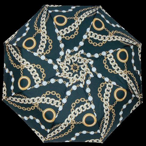 Черный зонт с золотыми цепями