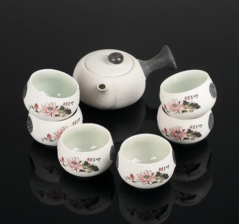 Набор для чайной церемонии Нежный цветок, 7 предметов: чайник 180 мл, 6 чашек 70 мл