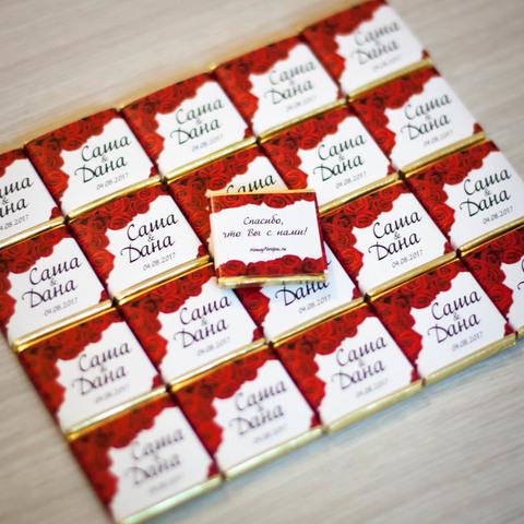 Шоколадная бонбоньерка, размер 3,5х3,5 см