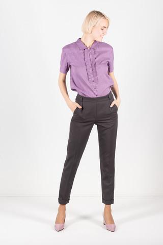 Фото фиолетовая блуза в полоску с узкой манишкой - Блуза Г665-307 (1)