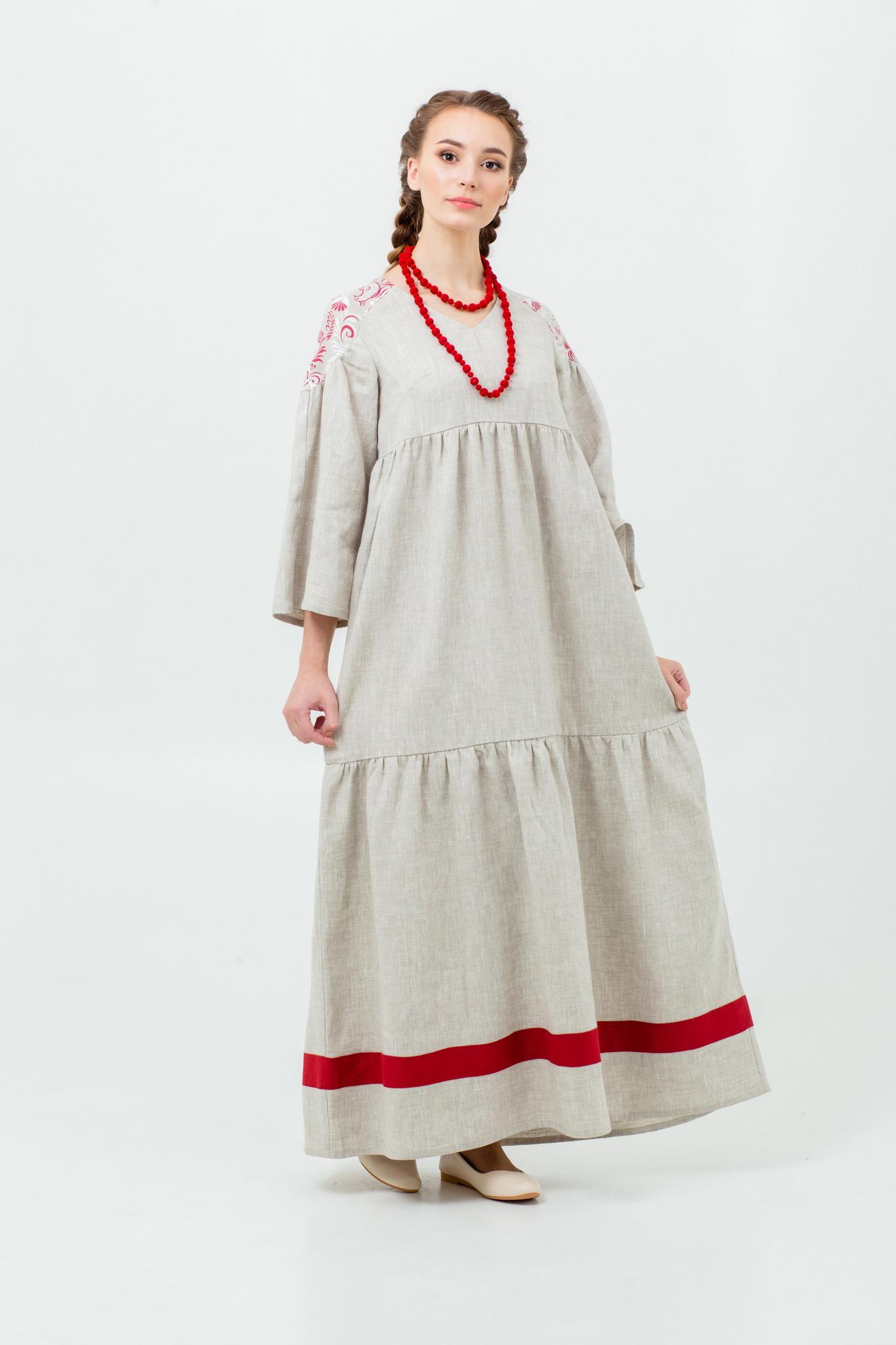 Русское народное платье в пол Калинка-малинка