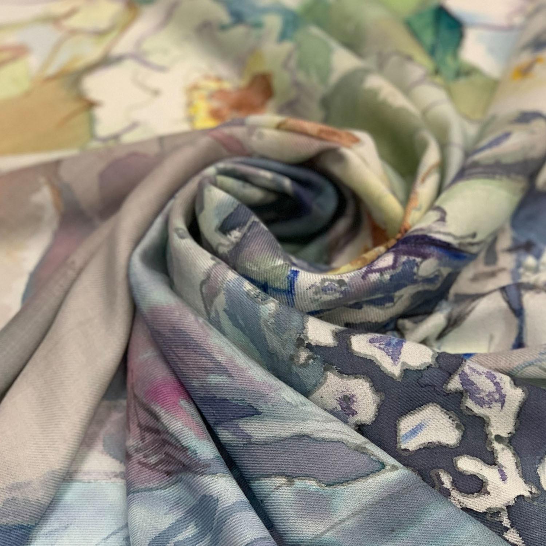 Кашемировый платок батик Нарцисс и хрусталь С-74-ш