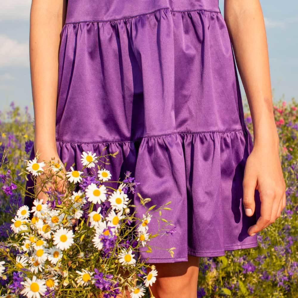 Детское, подростковое летнее платье для девочки в фиолетовом цвете