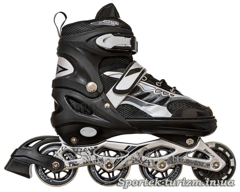 Вигляд справа на чорні роликові ковзани InLine Skate 38-43 розміру