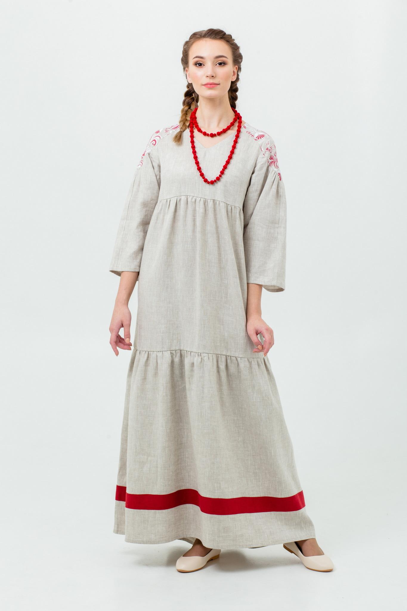 Льняное платье в русском стиле Калинка-малинка