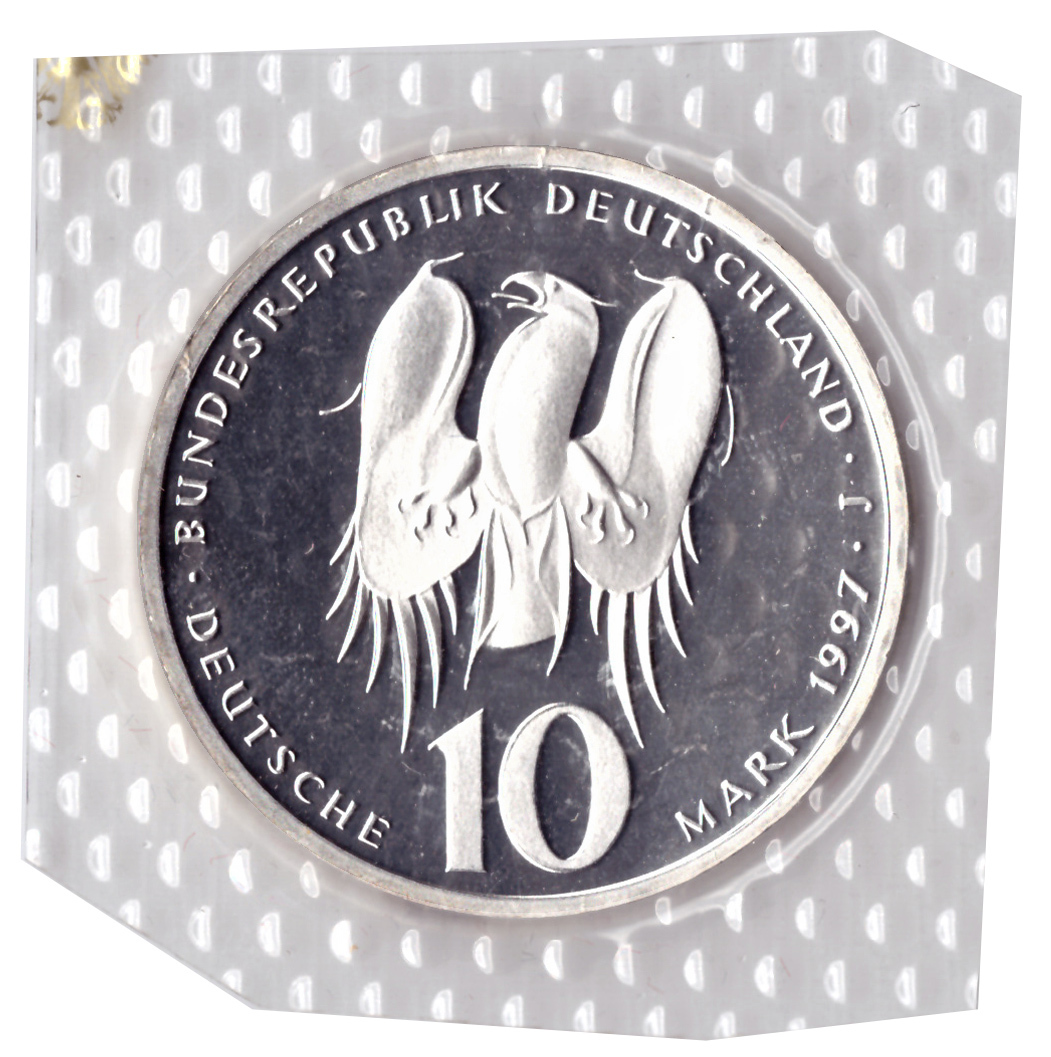 10 марок 1997 год (J) 500 лет со дня рождения Филиппа Меланхтона, Германия. PROOF в родной запайке