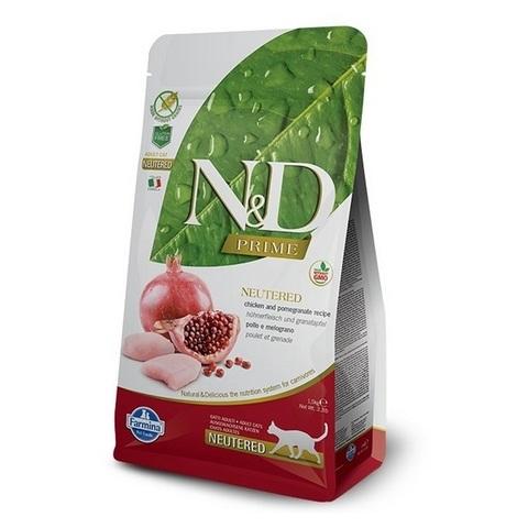 10 кг. FARMINA N&D GF Сухой беззерновой корм для взрослых кошек с курицей и гранатом Adult Cat Chicken&Pomegranate