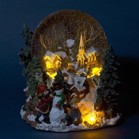 Стеклянный шар со снегом Новогодние каникулы. Снежный шар с метелью и подсветкой