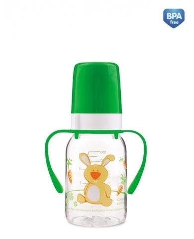 Бутылочка тритановая (BPA 0%) (11/823) с ручками с сил. соской, 120 мл. 3+ Cheerful animals (зайка)