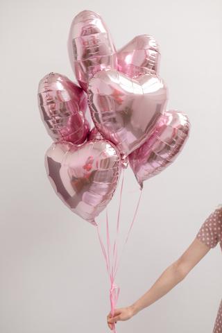 Розовые сердца 7шт
