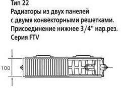 Радиатор Kermi FTV 22 200х1300