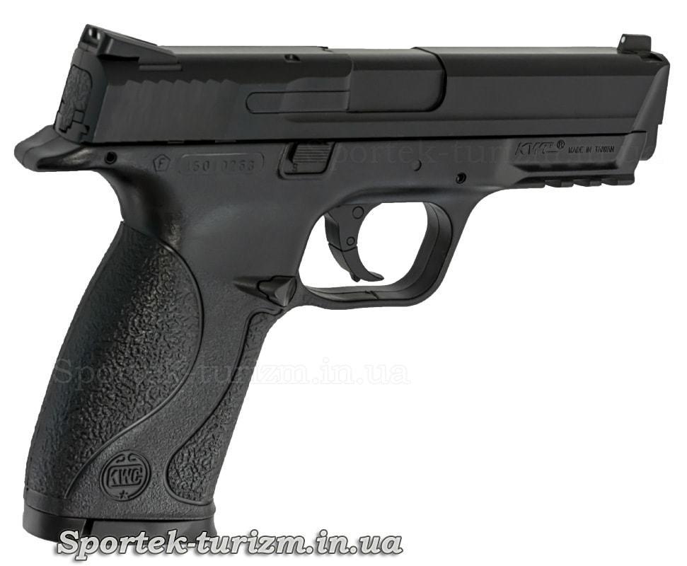 Вид праворуч на газобалонне пневматичний пістолет SAS MP-40 калібру 4,5 мм