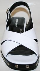 Босоножки сандали женские. Белые босоножки на низком ходу. Кожаные босоножки сандалии женские Marani Magli-White.