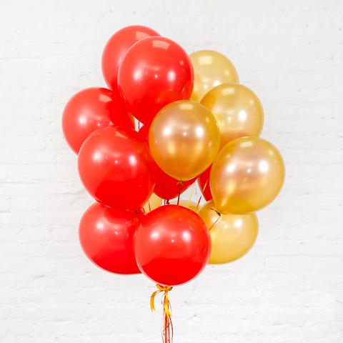 Букет из 15 шаров (Красный и Золотой)