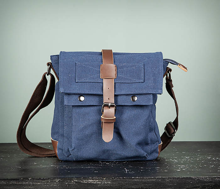 BAG503-3 Мужская сумка «почтальонка» из ткани синего цвета