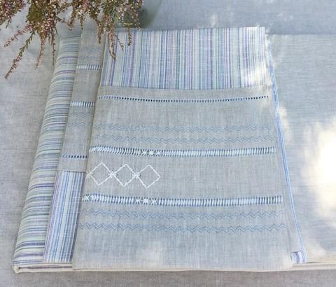 Комплект льняного постельного белья натуральный серый лён с вышивкой
