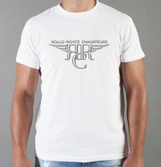 Футболка с принтом Роллс-Ройс (Rolls-Royce) белая 005
