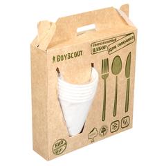 Набор БИОразлагаемый  (тарелки, стаканы, вилки, ложки, ножи по 6 шт)