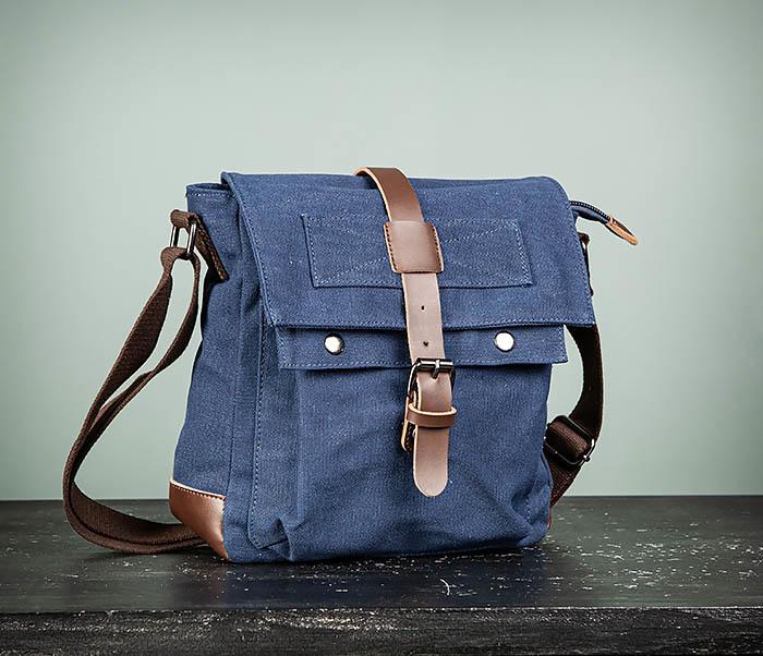 BAG503-3 Мужская сумка «почтальонка» из ткани синего цвета фото 02