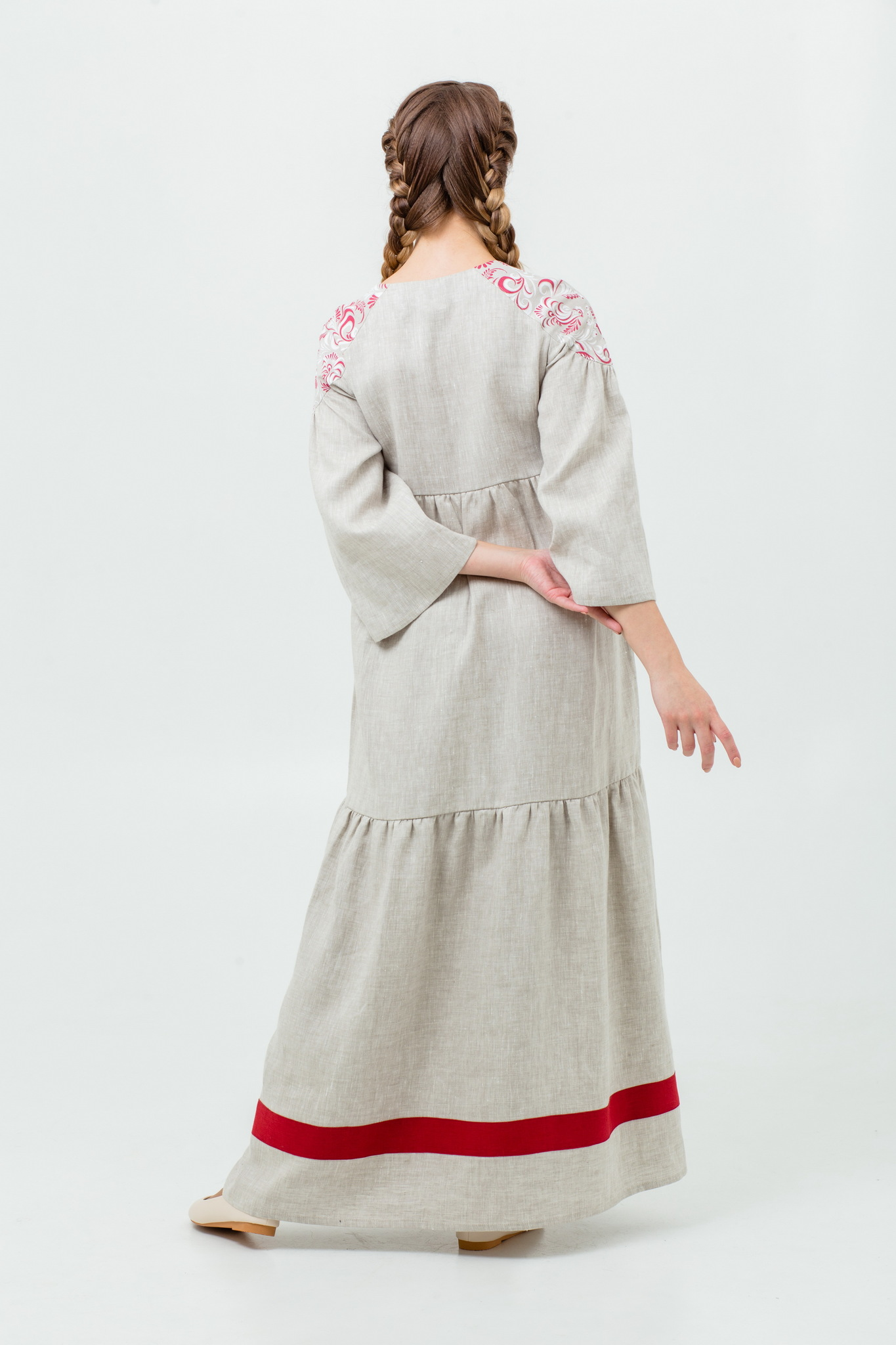 Русское народное платье макси Калинка-малинка