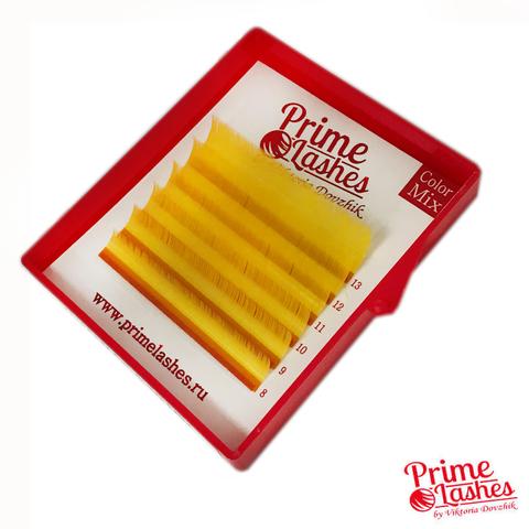 Ресницы Prime Lashes желтые, микс 6 линий