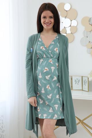 Комплект для беременных и кормящих с халатом и сорочкой 12734 зеленый