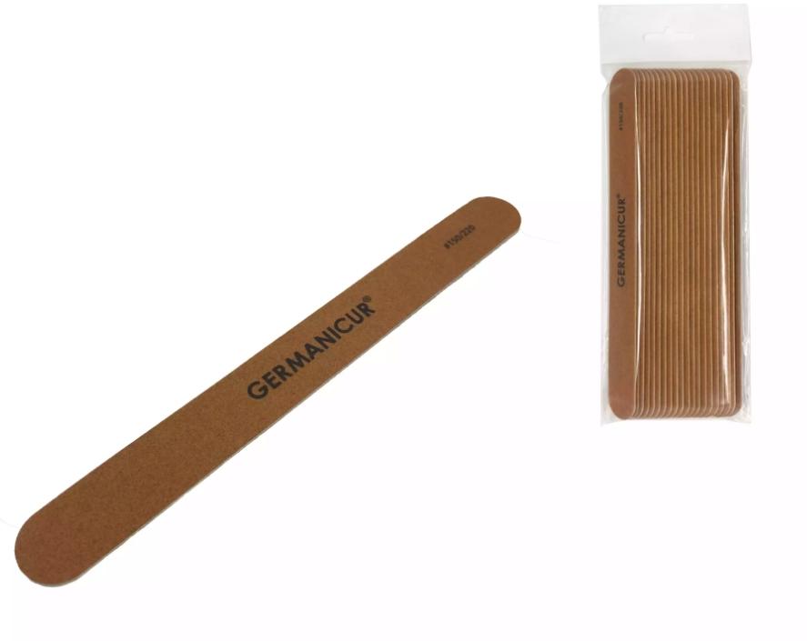 Пилка-наждак (20) GM-1806-WOOD (150/220) на деревянной основе прямая коричневая для ногтей