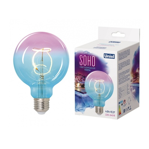 Лампа светодиодная UNIEL LED-SF01-4W/SOHO/E27/CW BLUE/WINE GLS77TR