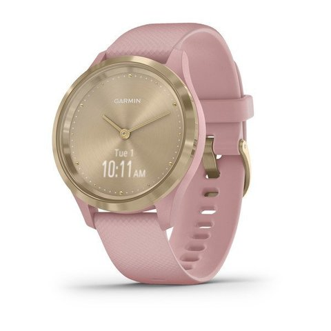Garmin Vivomove 3s - Light Gold Stainless Steel Bezel with Dust Rose Case and Silicone Band