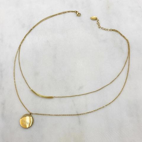 Колье-цепь двухрядное со скобой и медальоном, сталь (золотистый)